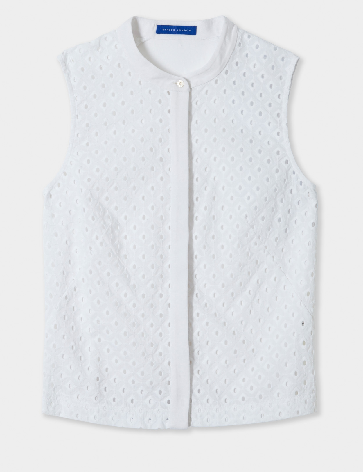 WINSER LONDON -SLEEVELESS BRODERIE ANGLAISE TOP IN WHITE - £89
