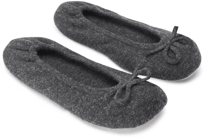 THE WHITE COMPANY CASHMERE BALLET SLIPPERS - DARK CHARCOAL MARL £65