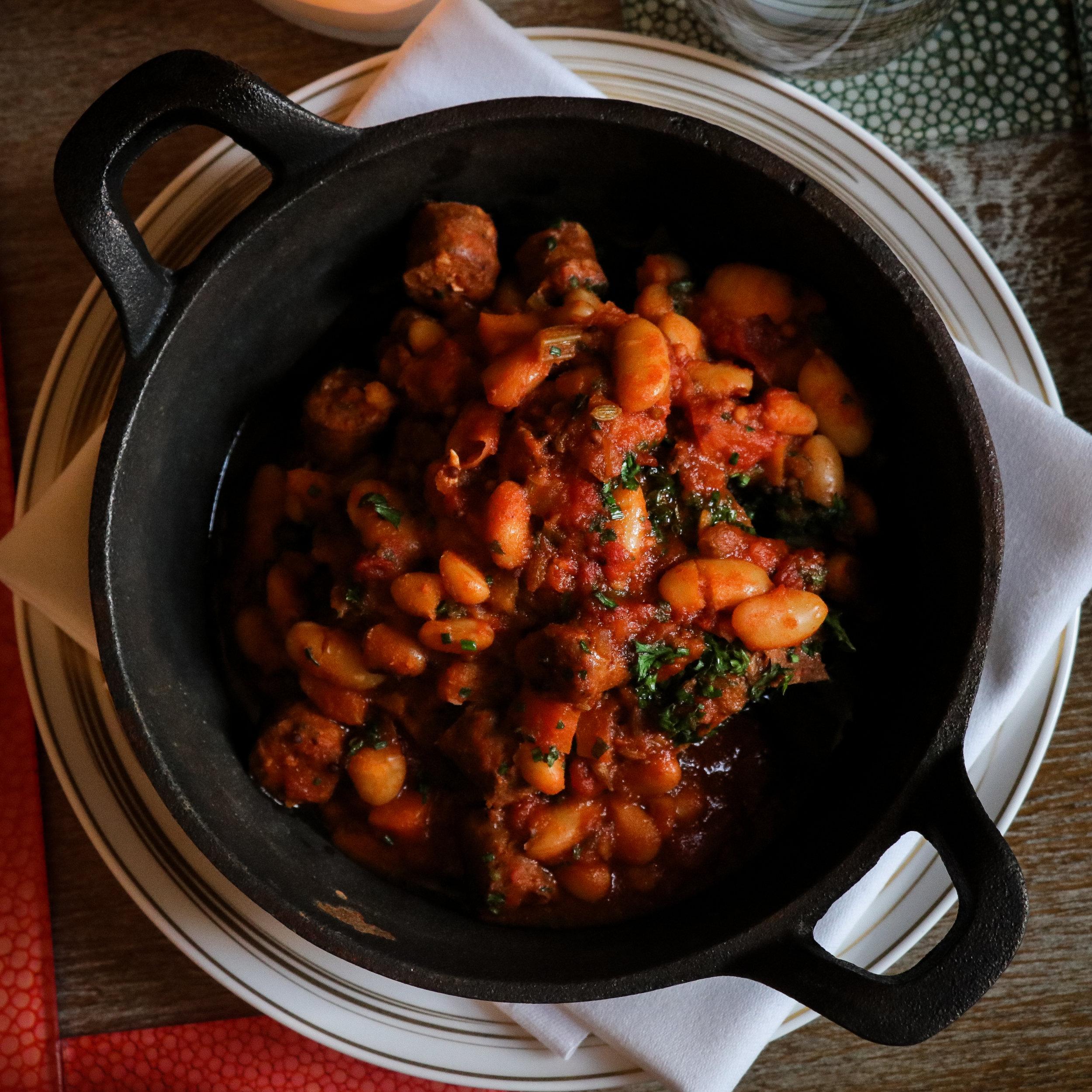 'Lamb Baked Beans, Merguez Sausage, Wild Garlic' (£12)