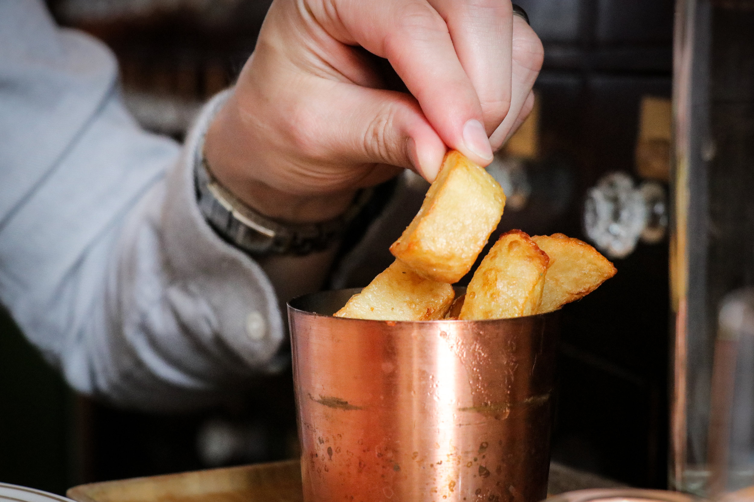 'No.15 Triple-Cooked Chips, Rosemary Salt, Our Own Ketchup' (£5)