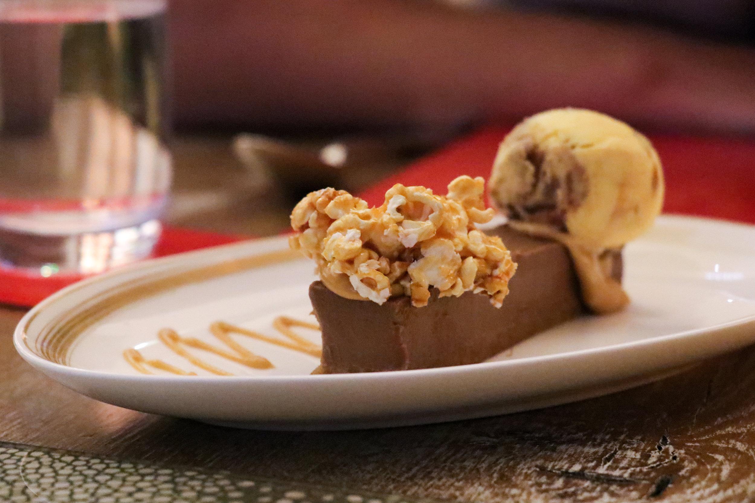 'Dark Chocolate Delice, Salted Popcorn, Banana Ice-Cream' (£7.50) to share!