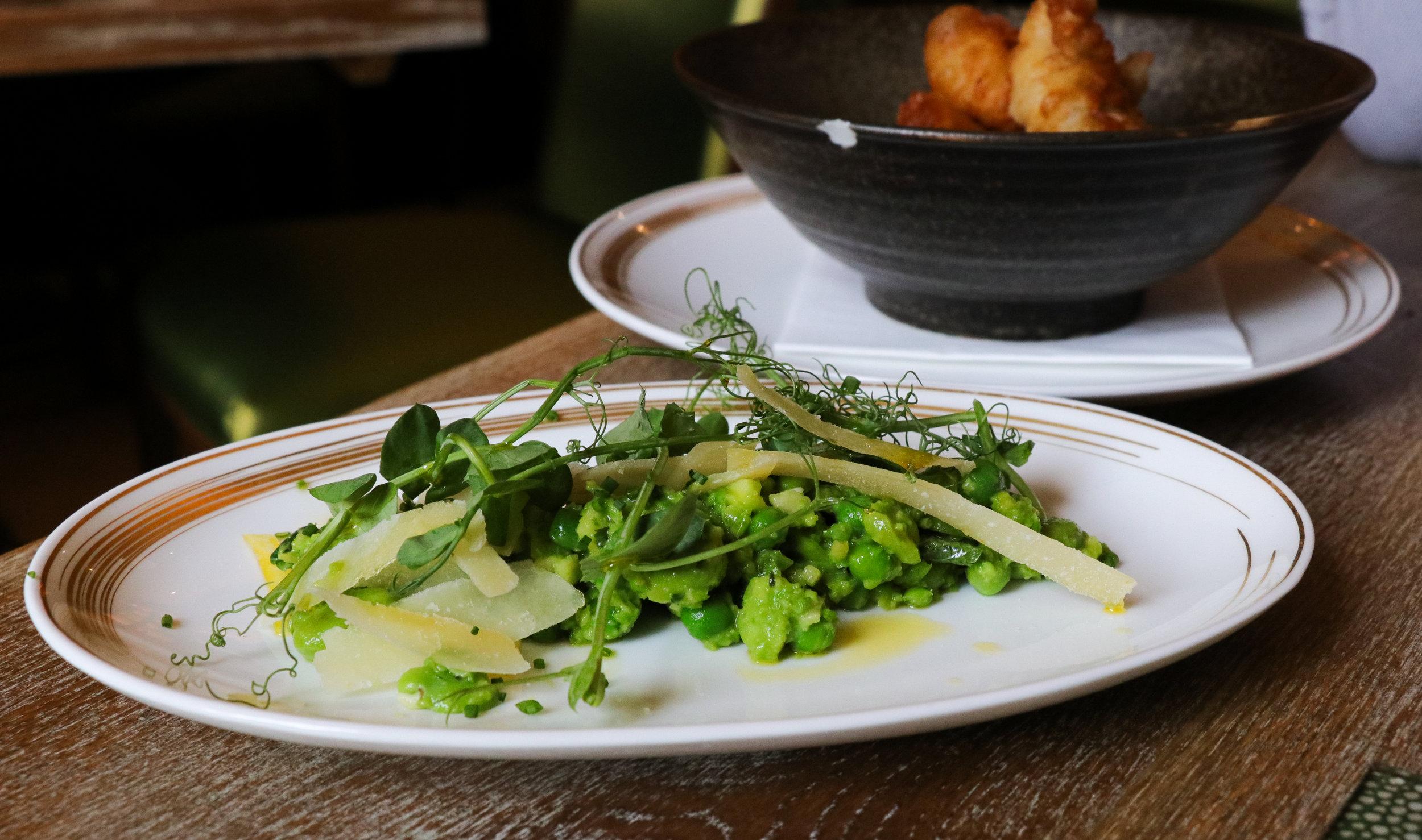 'Broad Bean, Peas and Mint Salad, Old Grenadier Shavings' (£7.50)