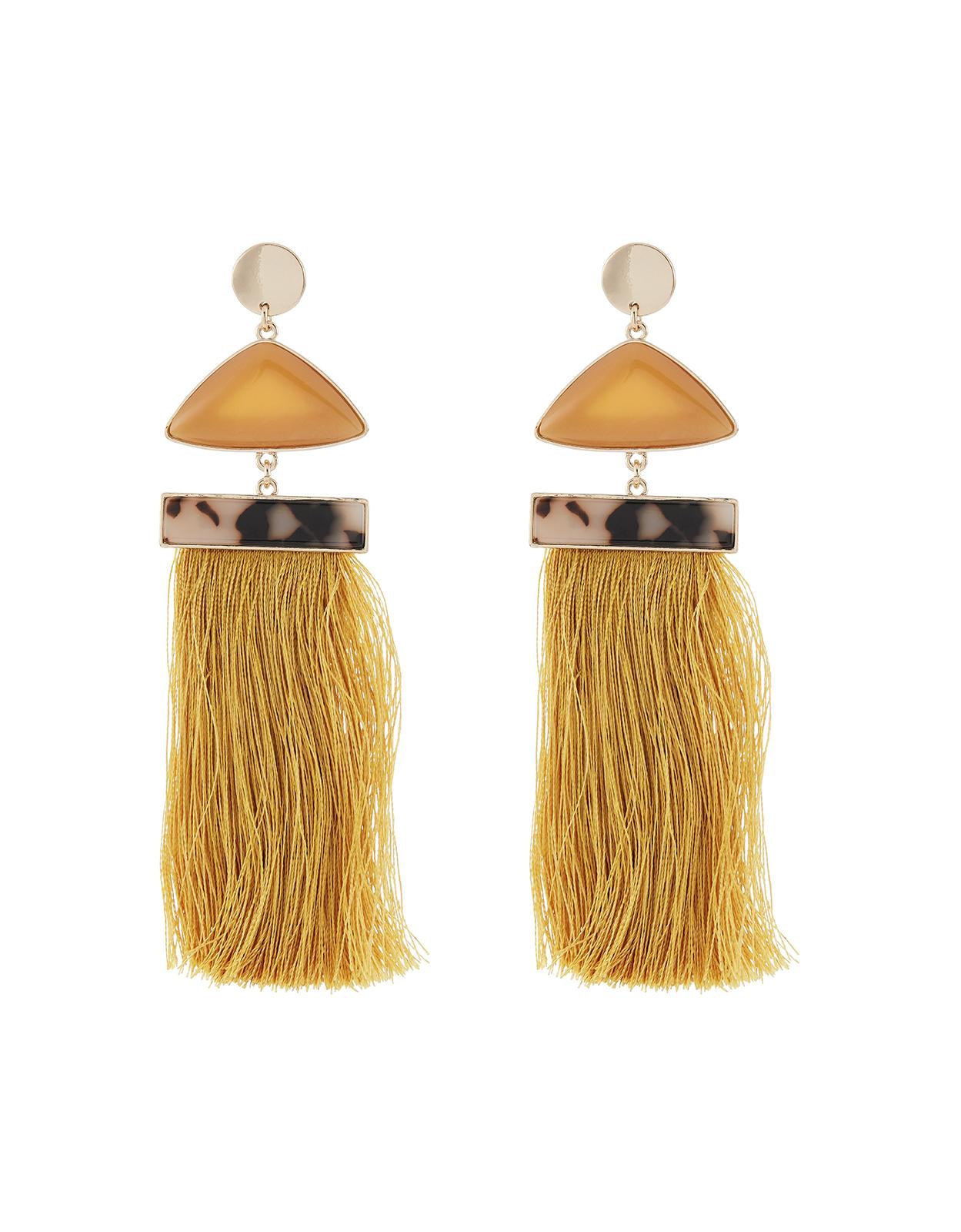 Accessorize Mocha Statement Tassel Earrings