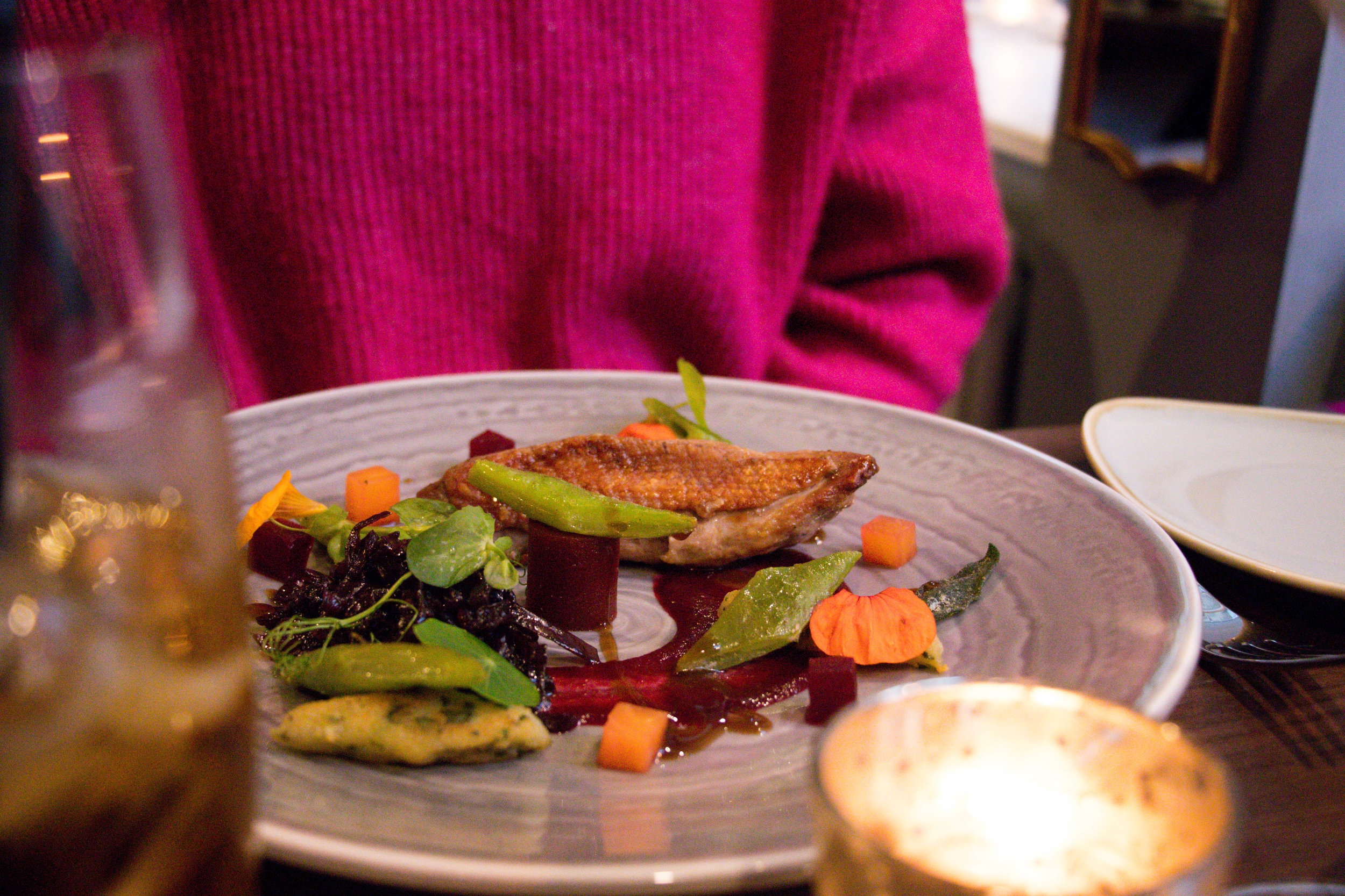 'Pan seared duck breast with beetroot, herb gnocchi, runner beans and caramelised red cabbage' (£12.95)
