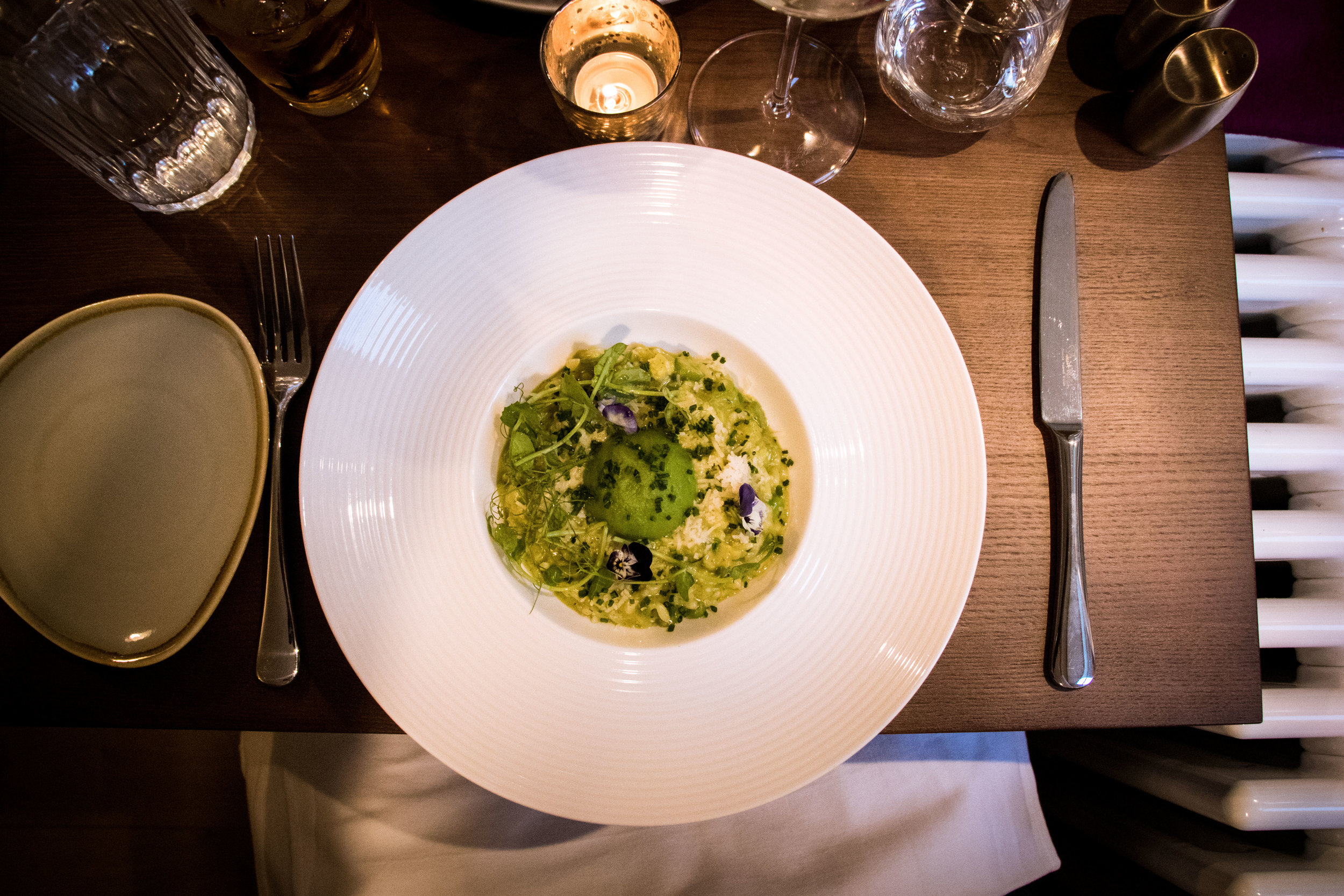 'Green risotto with courgettes, peas, fresh herbs and mascarpone' (£11.50)
