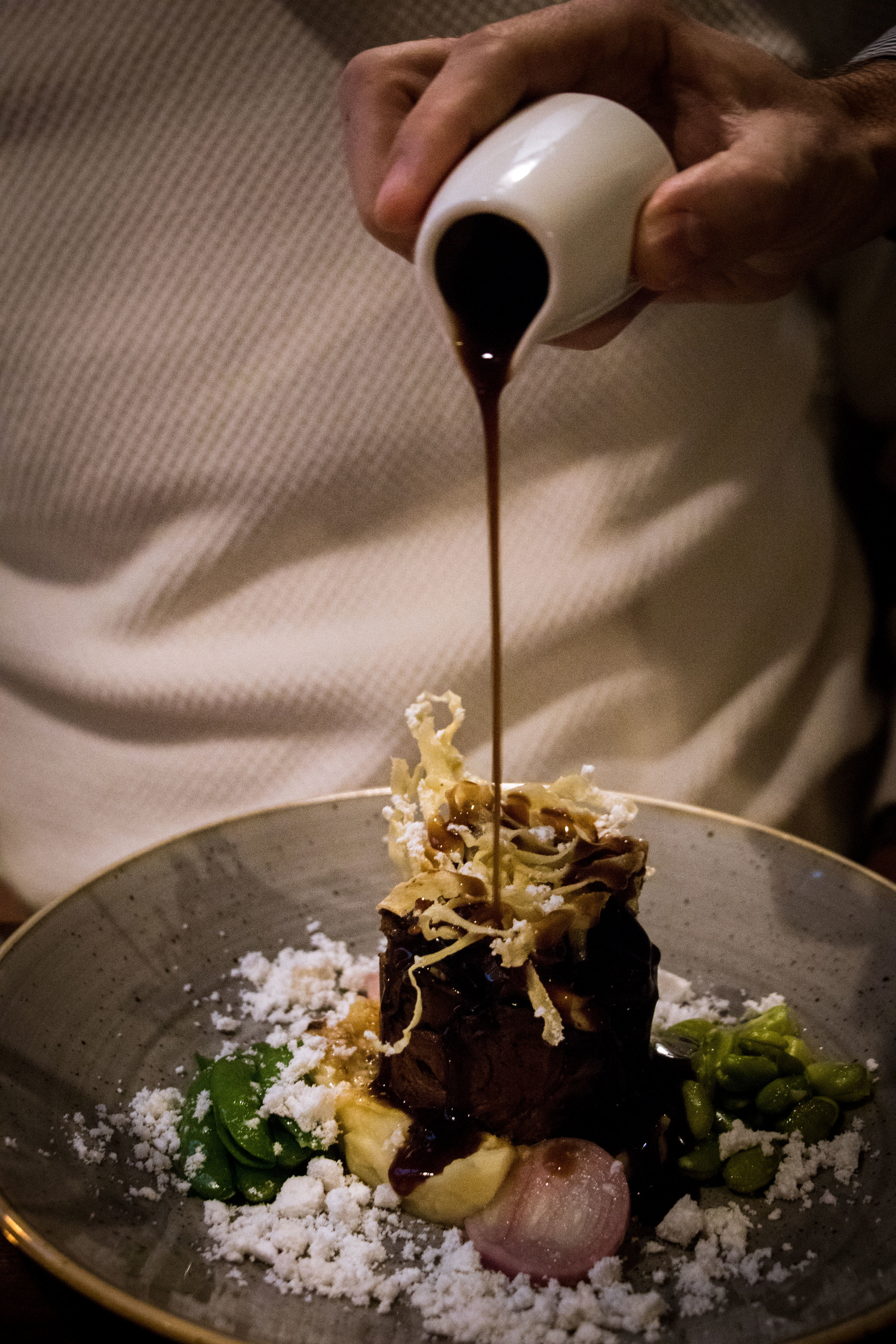 'Slow cooked short rib beef with parsnip puree, broad beans, oyster mushrooms, horseradish powder and red wine jus' (£13.25)