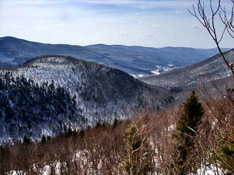 Winter view down Spructon Valley from the John Robb lean-to
