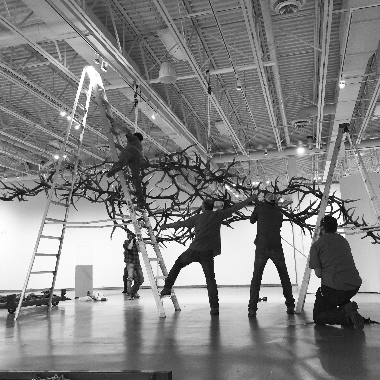 "29' antler sculpture for museum opening "" No Trespasssing """