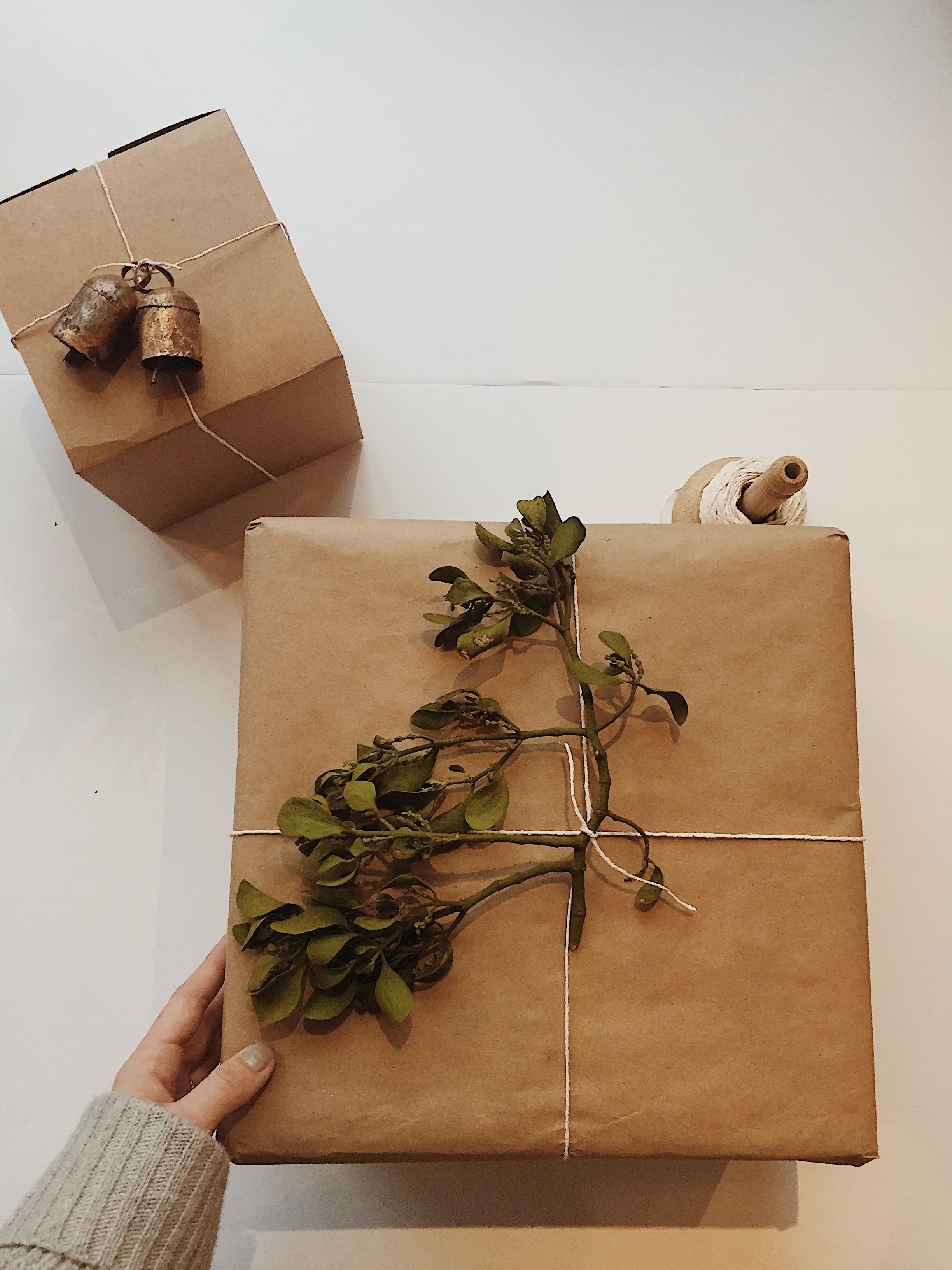 Tin Bells + Kraft + Mistletoe