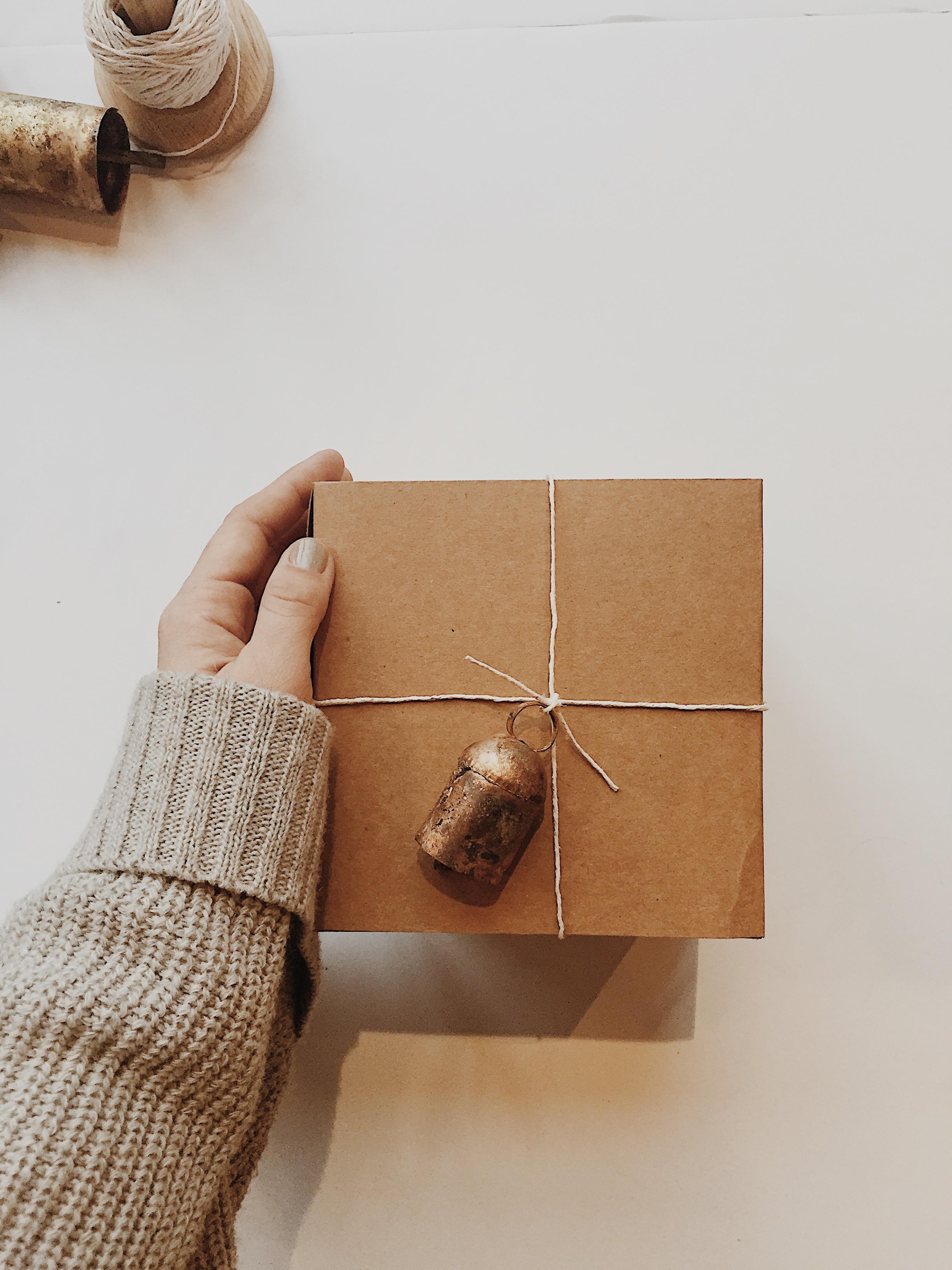 "Kraft Box + 2"" Tin Bell Ornament (Urban Ancestor) + White Waxed Cotton String"