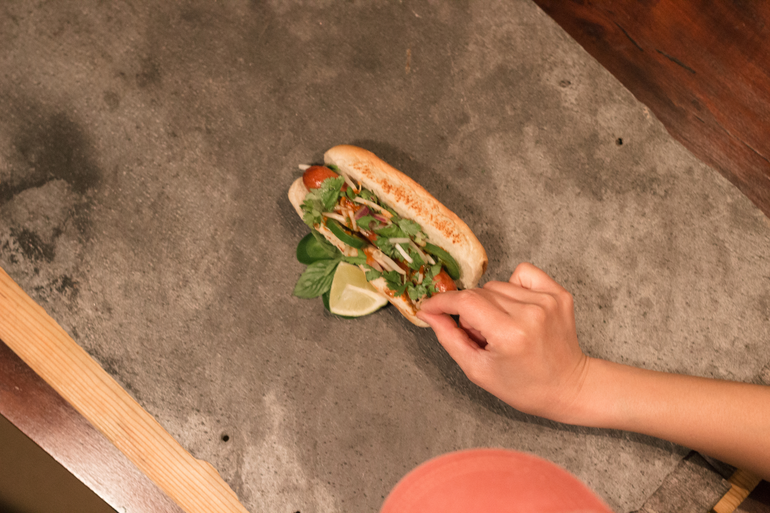Prepping the Pho Dog, for its moment.