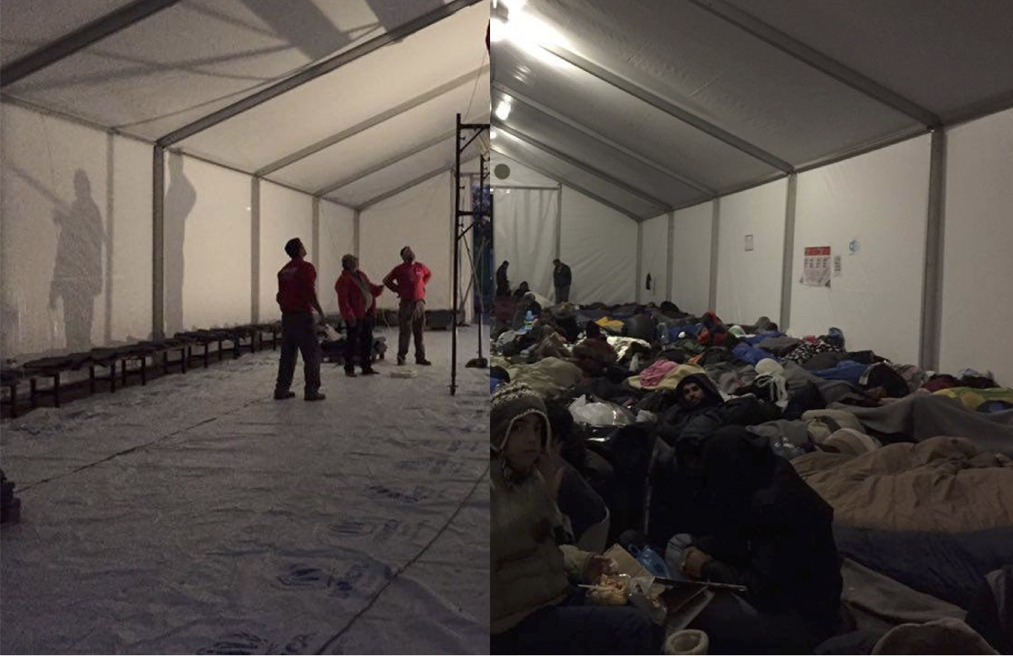 Two more tents were constructed to house the swelling population as borders remain closed.