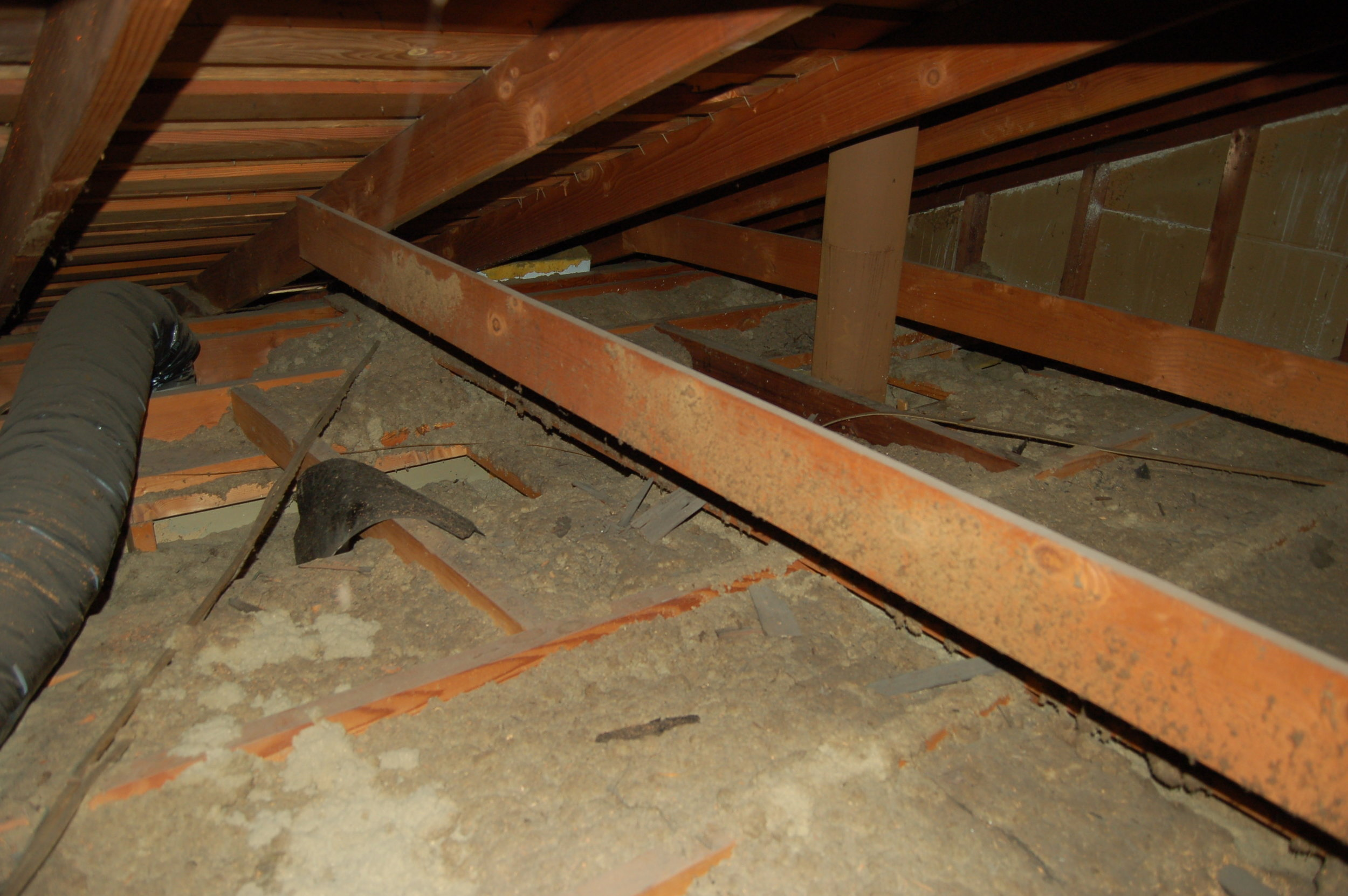 Attic existing condition: ceiling joist bays filled with 33-year-old cellulose insulation, as well as lots of other stuff.