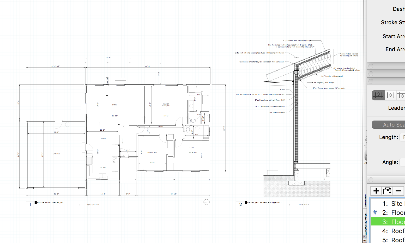 Architectural drawings generated in Layout from the SketchUp building model using the process described in  The SketchUp Workflow for Architecture