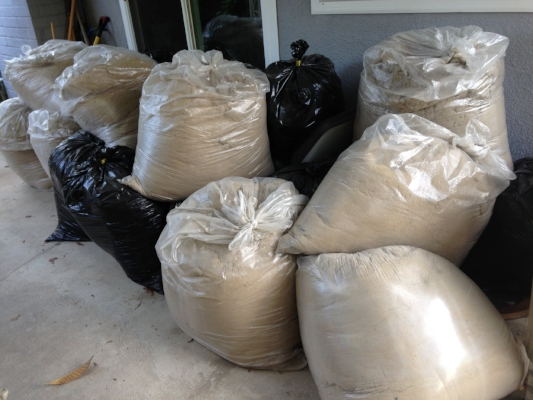 We filled about forty 50-gallon bags in all.