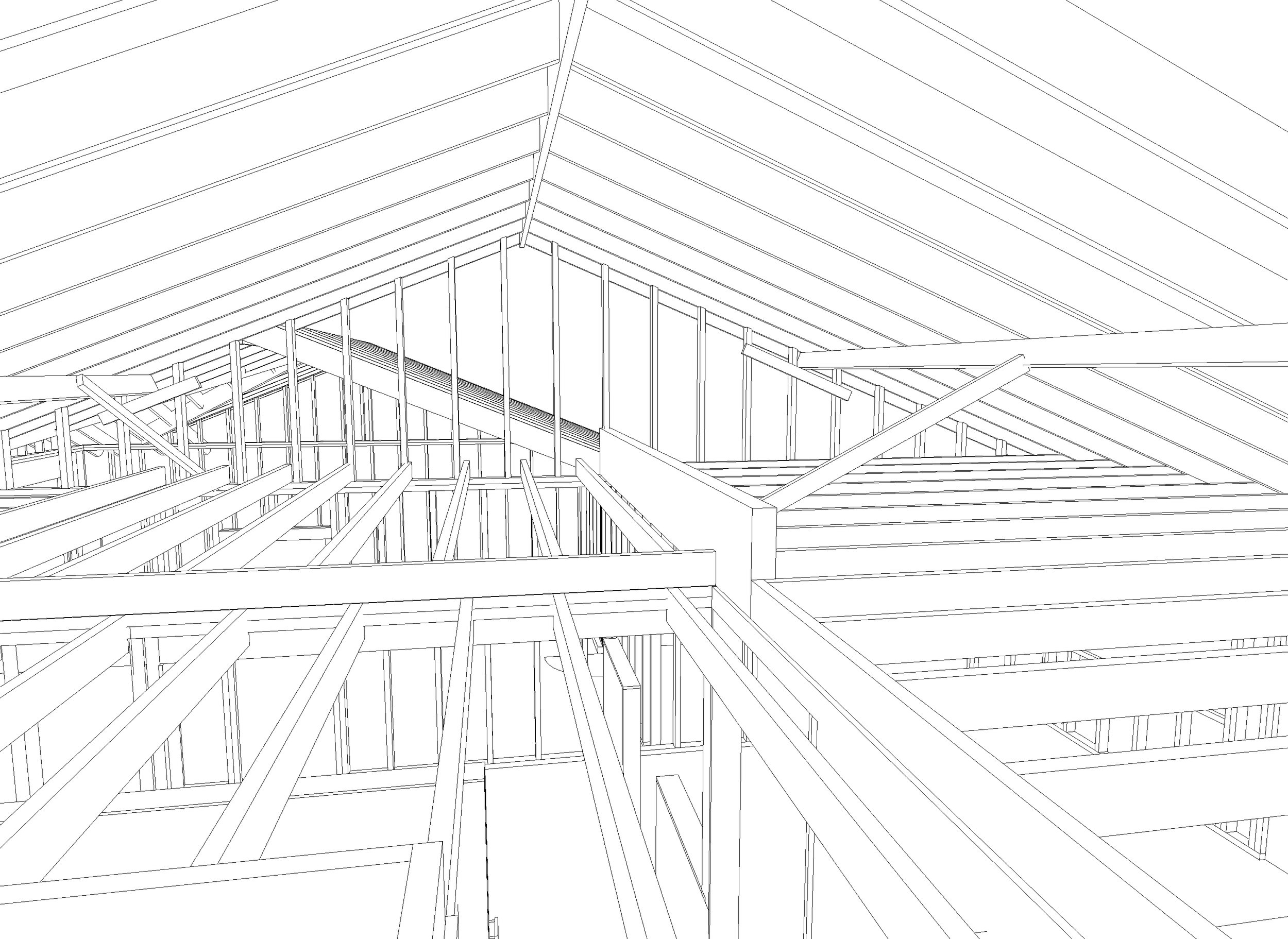 Drawing of the existing ceiling and roof structure, looking north. Note the purlins supporting the 2x6 rafters mid-span. I think I left out some supports for the purlins in this drawing. There were regularly spaced supports resting on bearing walls or that giant 6x13 beam shown in the center-right.