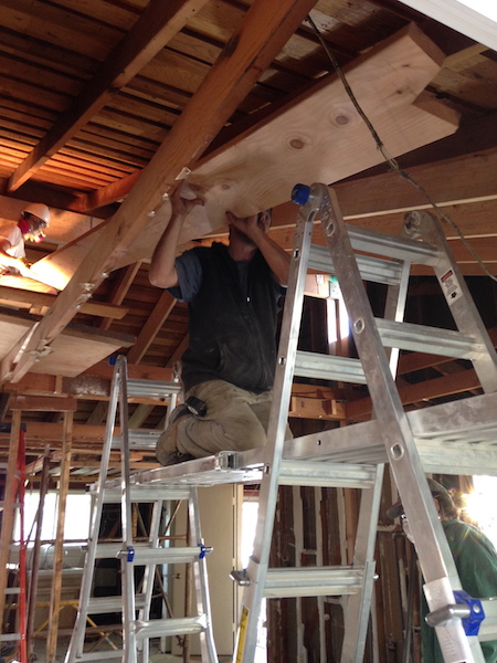 Each new rafter had to be meticulously — and laboriously — slid into its new home next to the existing rafter.