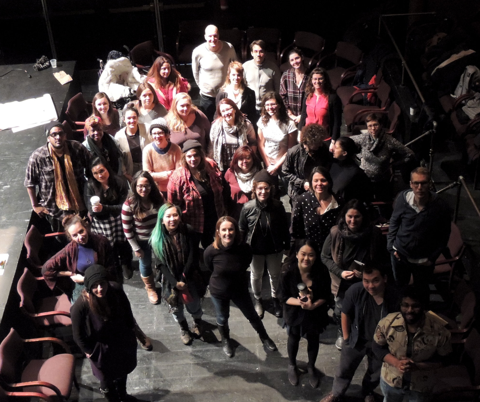 Group shot of the brave participants wanting to tackle challenges with hiring practices in Canadian theatre at  The White Guy Shuffle  on Jan 15, 2017.