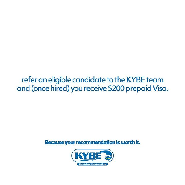 KYBE Electrical Contracting is hiring and we need YOUR help! For the rest of September, receive a $200 prepaid VISA for referring a candidate that we hire. For more information on the positions available: www.kybe.ca/careers Please share this post! #WeAreKYBE