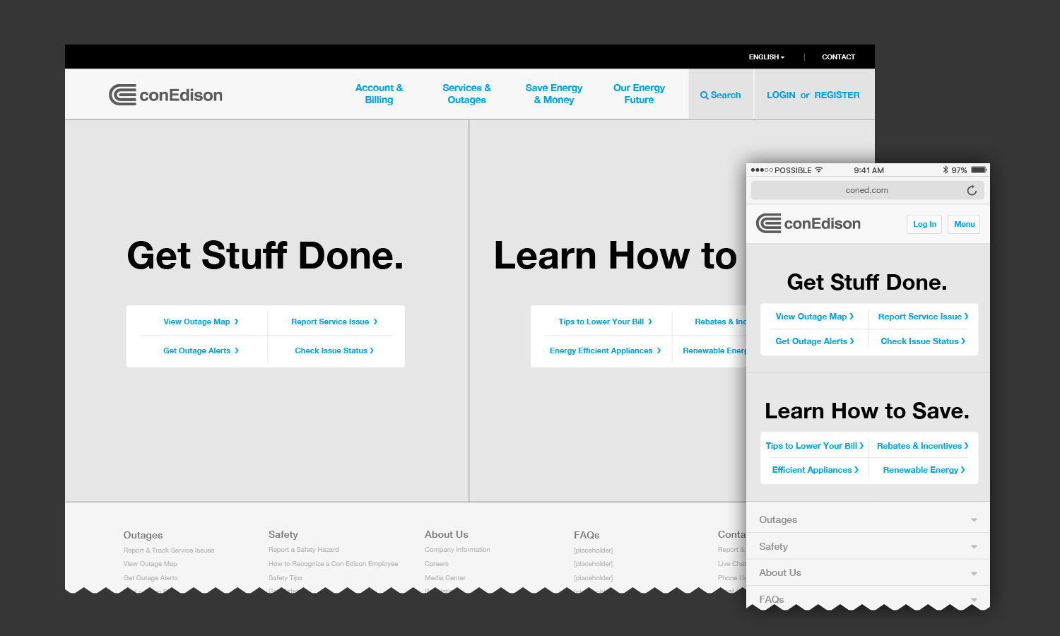 ConEd.com Wireframe Homepage Template