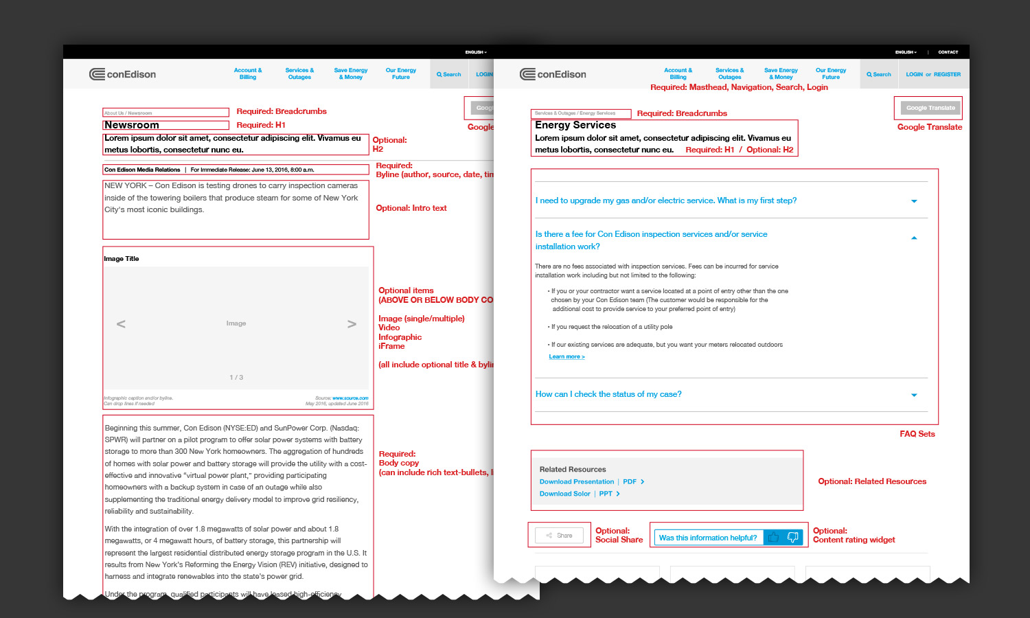 2 of 8 Templates Created for ConEd.com (Press Release Template and FAQ Template)