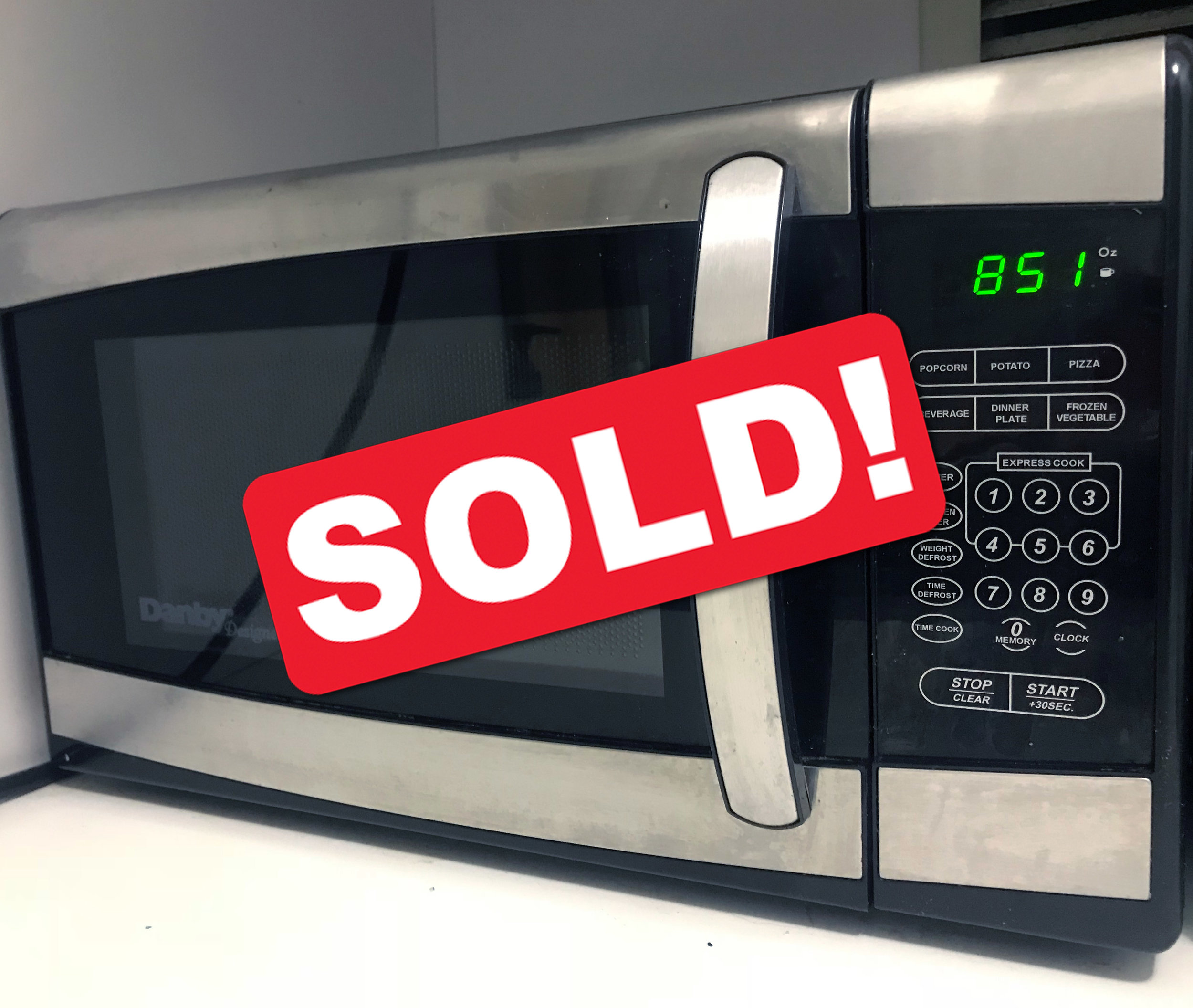 $20  Countertop Microwave  Black and stainless steel Danby Designer 0.7 cu.ft. microwave with 700 watts of cooking power. Comes with 10 power levels. Dimensions 14 x 17.3 x 10.1 inches.
