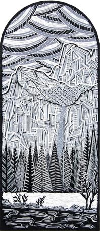 Yosemite Waterfall Linoleum Print