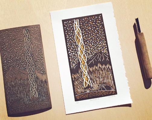 Two-Color Reduction Linocut