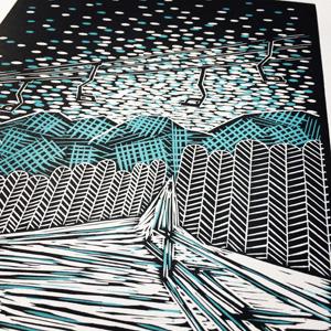 "Reduction Linocut - ""Last Run"" Skiing Print"