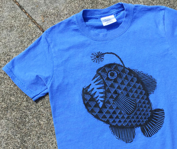 Block Printed Anglerfish T-Shirt Using Gamblin's Drive by Black Ink