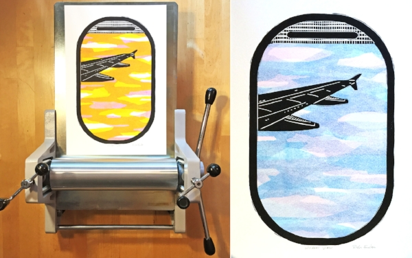 Two versions of the new airplane window view print. Printed on my Blick Econo Etch Model II Press.