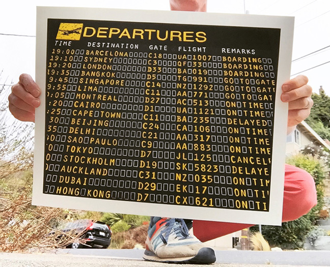Airport Departure Board Linocut Print - Printed with professional ink on white acid-free paper, this 16