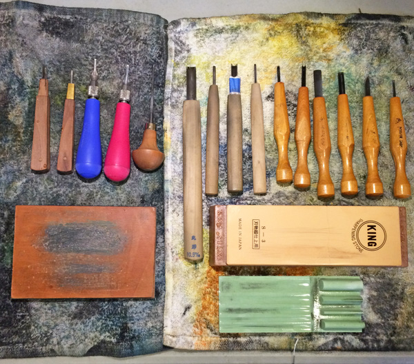 Some of the carving tools I use for block printing