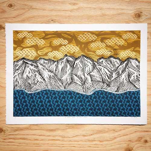 A Lake Tahoe Linocut Printed on my Blick 999 Model II Etching Press