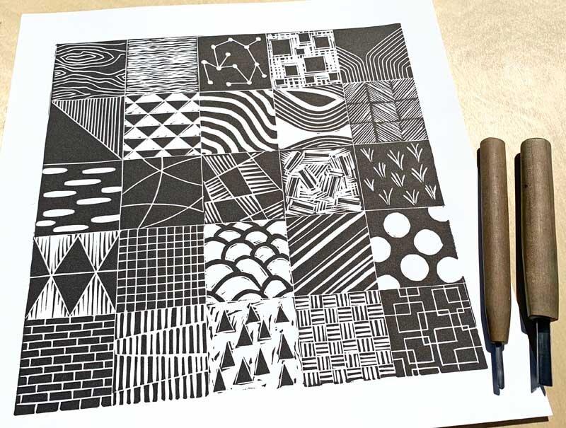 Simple Lino Print Pattern Designs