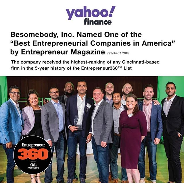 We are so proud of our #uncubed family ... @besomebodyblog named one of the best entrepreneurial companies in America and #1 in Cincinnati. #besomebody. #cincyproud 💯💪