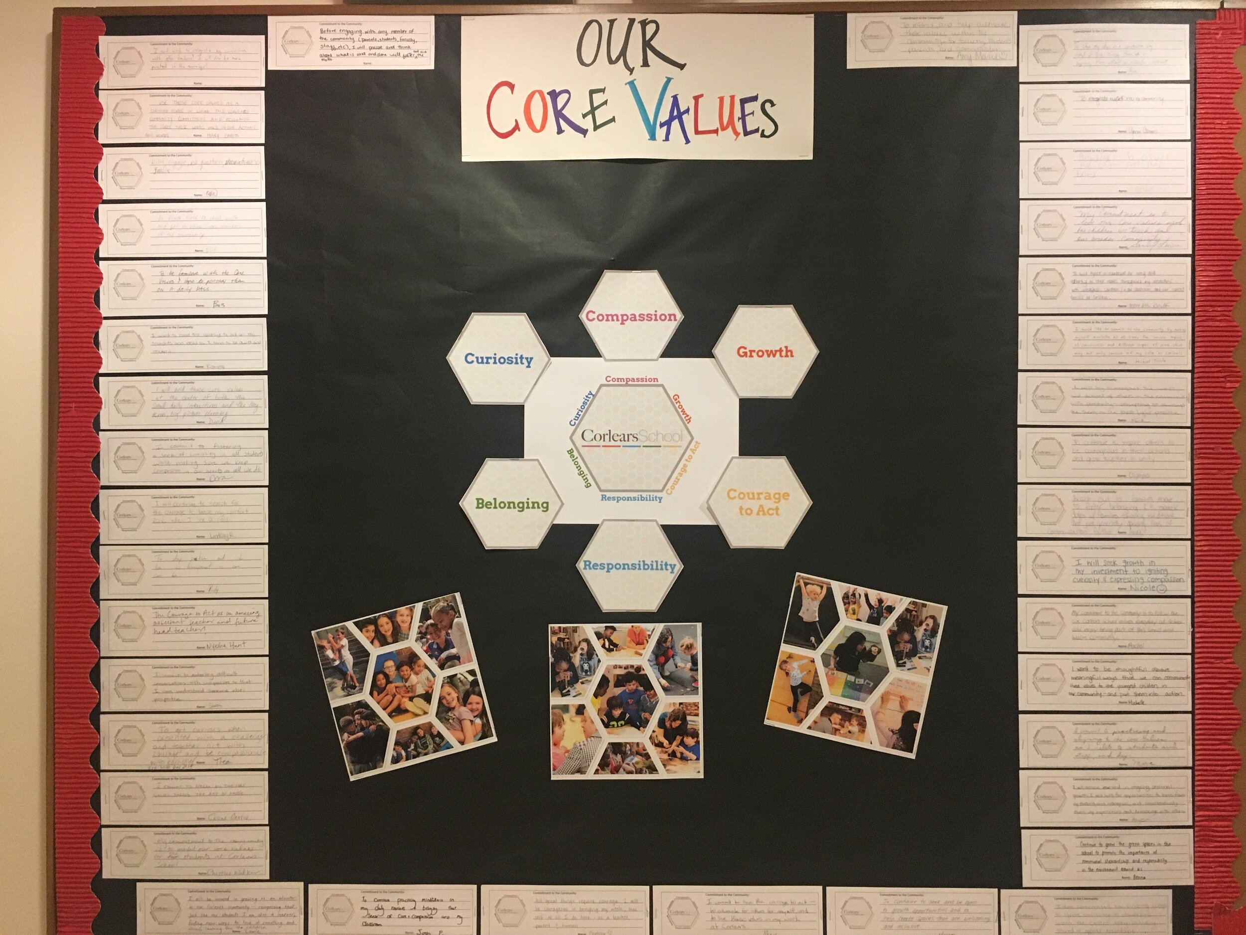 A bulletin board displaying faculty and staff's commitments to living and upholding the values at Corlears.