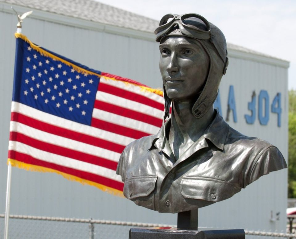 "The new monument ""The Aviator"" during its dedication at the Jackson County Airport on Friday, May 17. (Shelby Mack 
