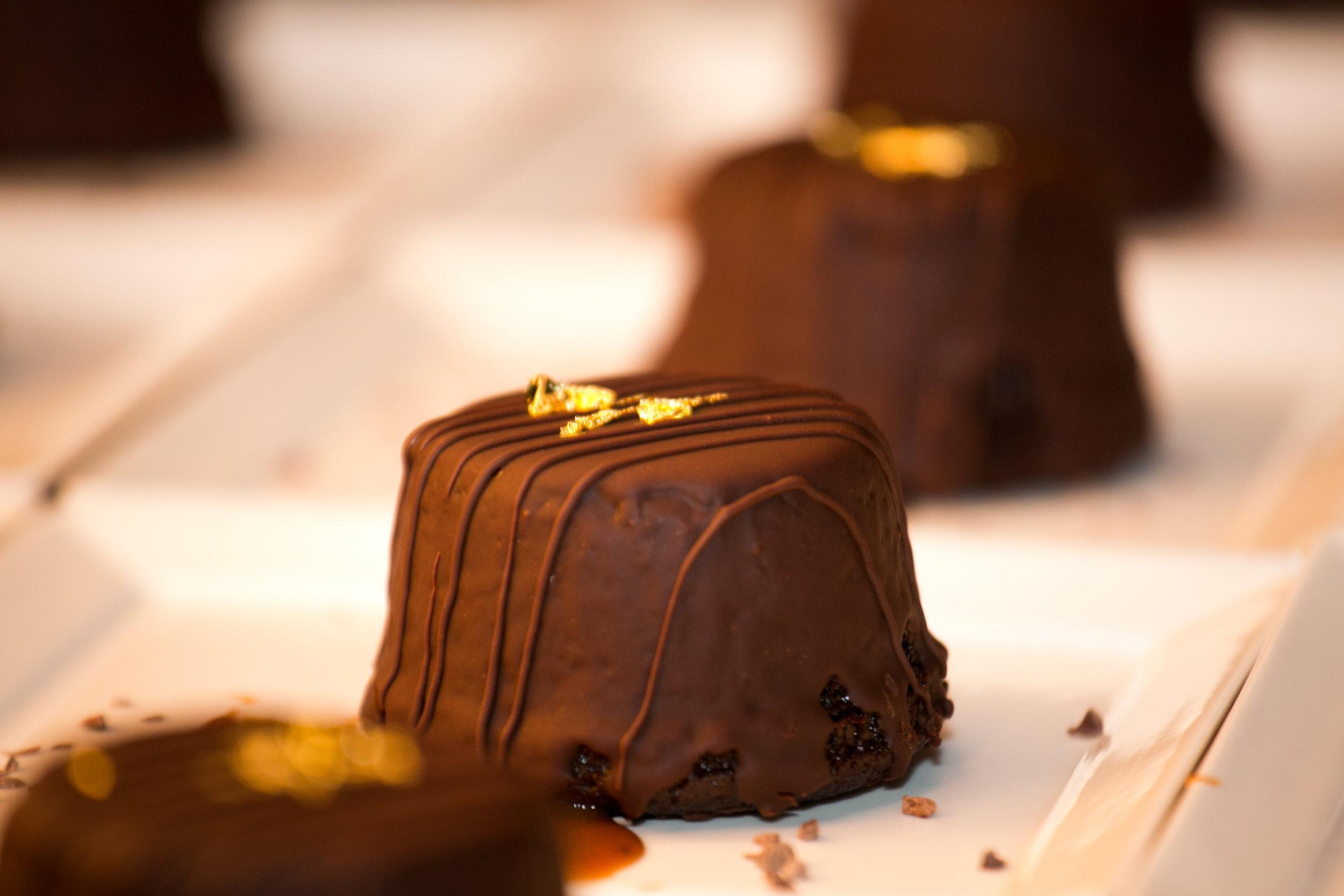 Chocolate Raspberry Torte with Gold Leaf