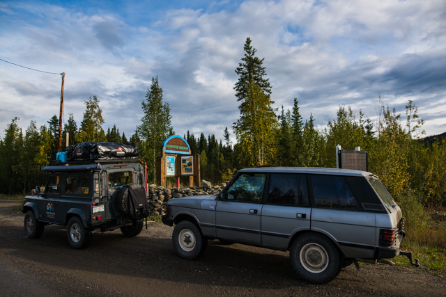 Clean vehicles for now at the start of the Dempster Highway, YT