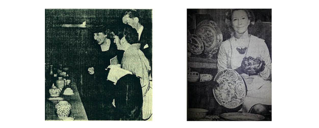 Above:  Left: Mrs. John M. Allison (left), the society's first president. Affectionately known as Toots (Tufts in Japan). Mrs. Allison collected porcelain. Right: Phyllis Bowen holding blue and whites unearthed in Makassar while describing her adventures for OAS members.