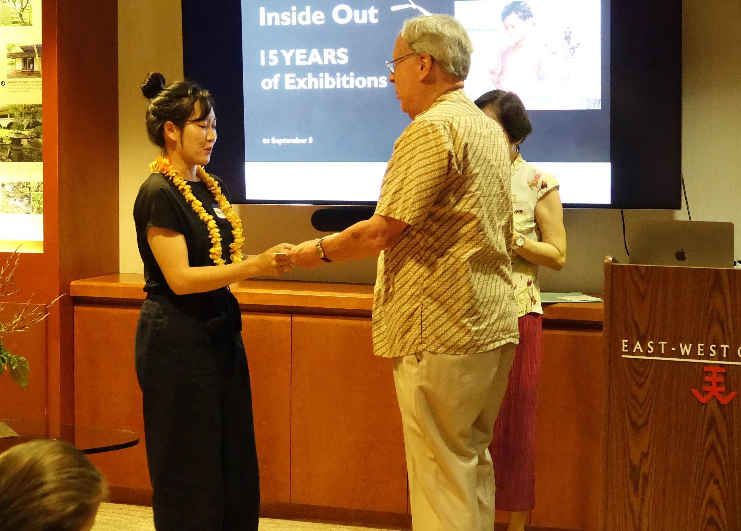 Miss Mary Kim received the Society's Susan Burghardt Special Award of $1,000 from Ambassador Raymond Burghardt for the 2019-2020 academic year. The award was to help her defray the material cost of her graduation project. Mary had a solo exhibition and she invited members to the opening on Sept 8, 3-5 PM, at the Commons Gallery, Art Dept. of UH, Manoa.