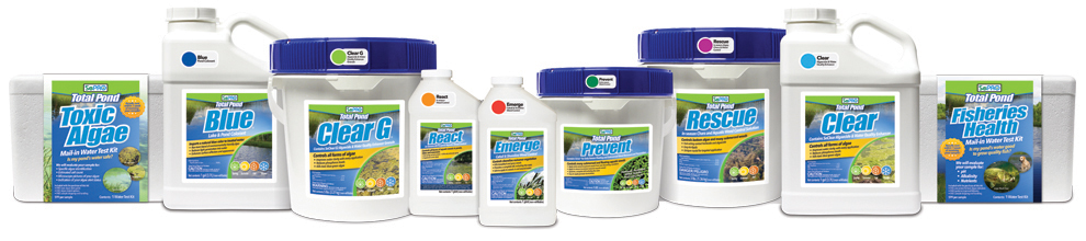 The complete product lineup from SePRO Total Pond, providing the do-it-yourselfer with reliable solutions for undesirable aquatic vegetation. Return your pond to health and get back to fishing, swimming and boating.