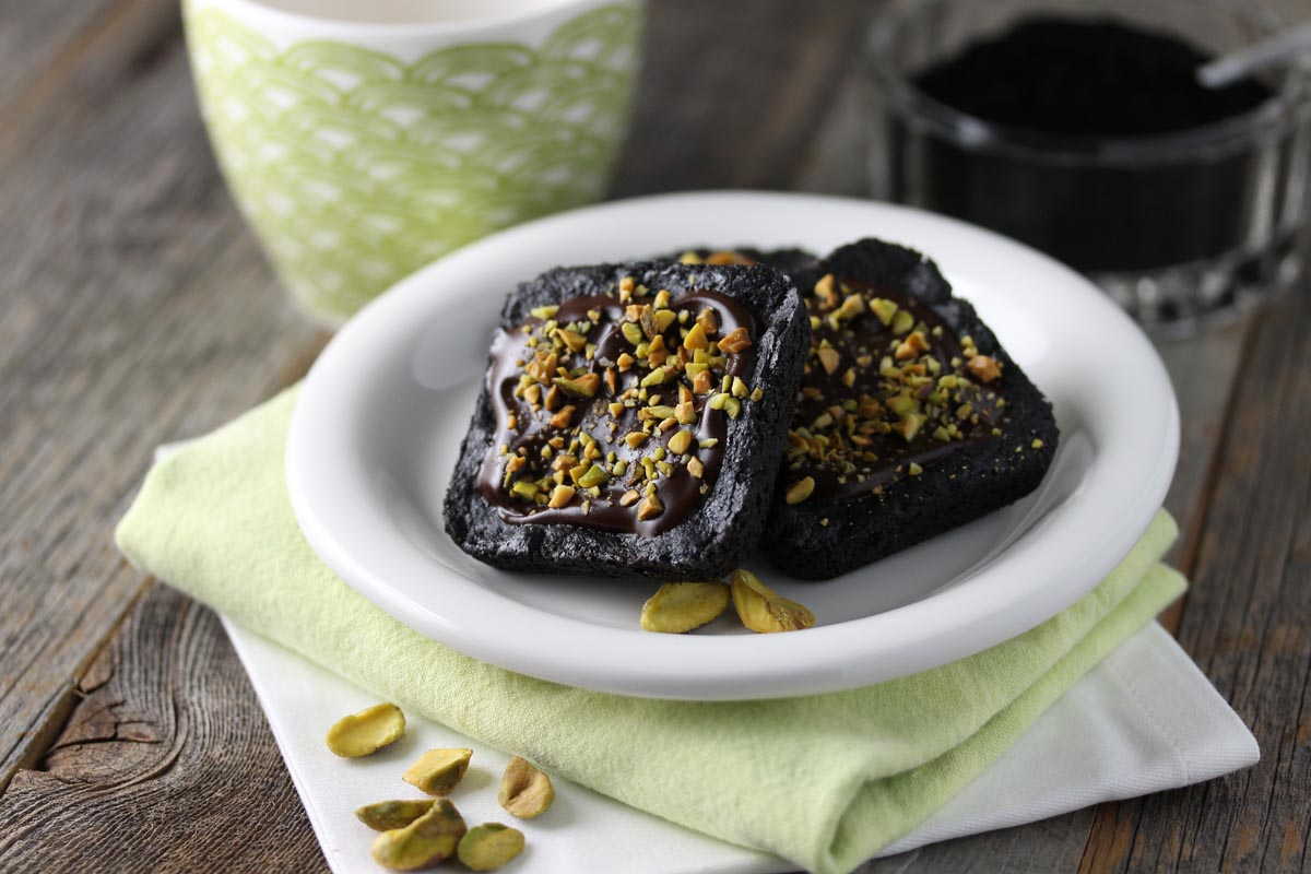 Chocolate Shortbread with Glaze & Toasted Pistachios