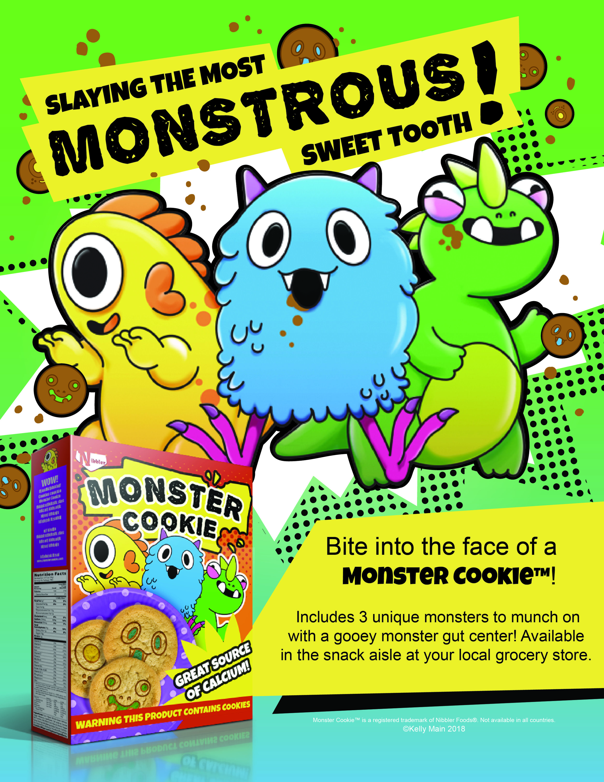 Mascot, Product, and Advertisement Design for Monster Cookie