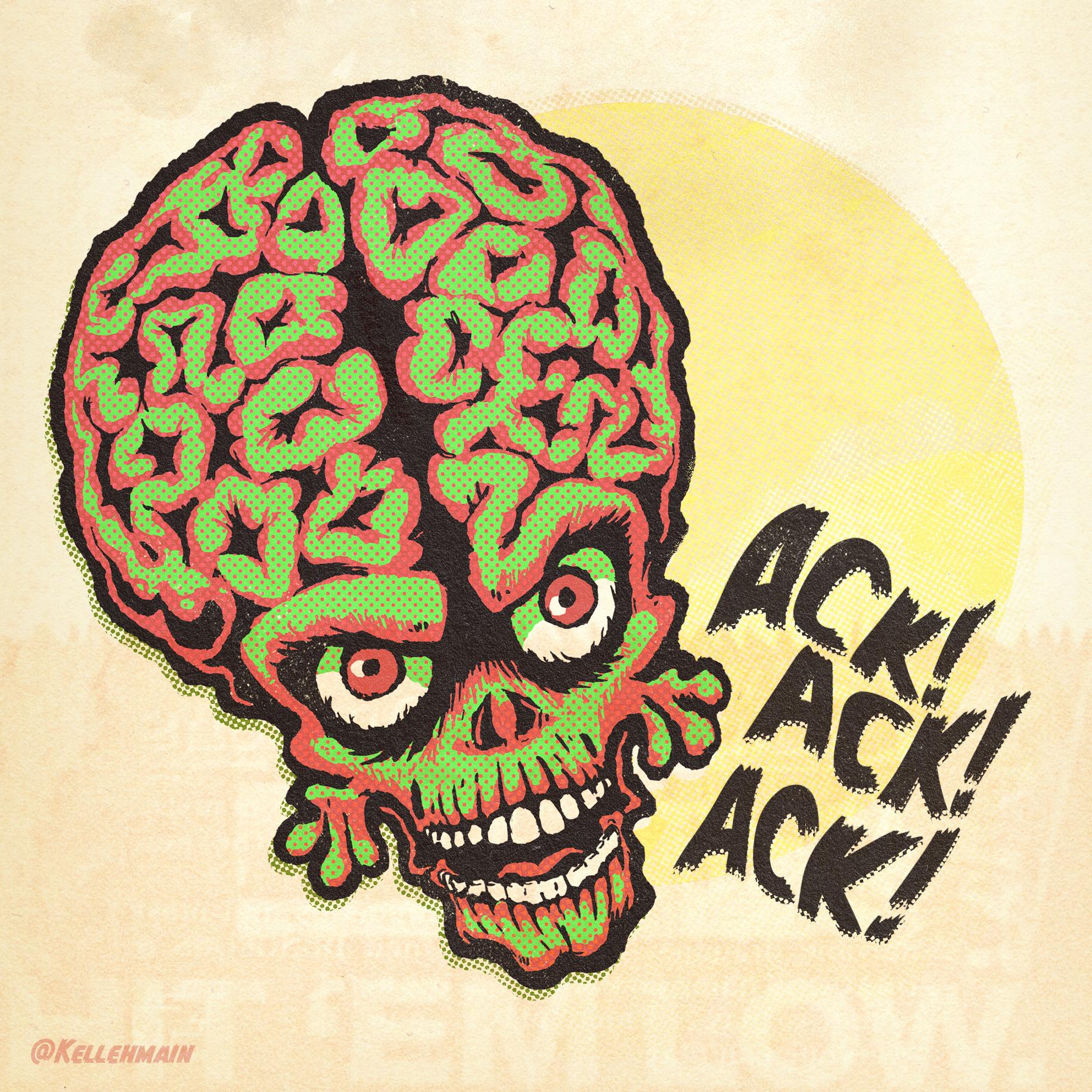 Mars Attacks!  inspired comic illustration.