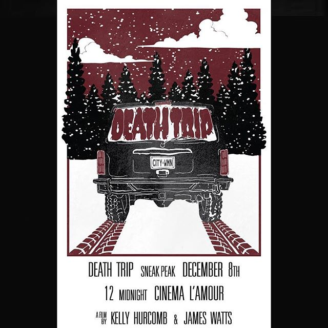 ANOTHER OUTSTANDING POSTER! This one by @beardough DEATH TRIP! *LINK TO EVENT IN BIO* (Dec 8 @ Cinema L'Amour) #acting #horrormovies #folk #montreal #thegame #indiefilm #ohnohedidnt #canadafilm #ontario #quebec #deathtrip #behindthescenes #indie #helpme #sotired #wintersucks