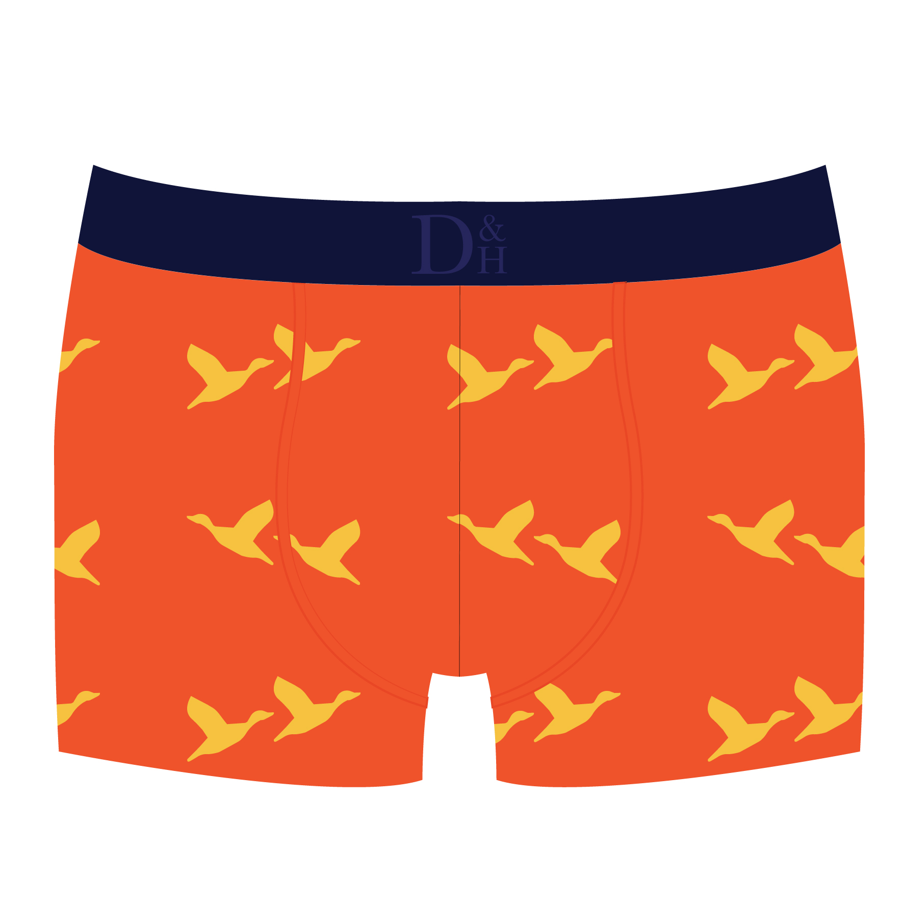 """LAUNCHING AUGUST 2016  KEN-ORG-DUK - Kensington Orange Duck Boxer Brief  RRP £22  SIZES: Small (30-32""""), Medium (32-34""""), Large (34-36""""), Extra Large (36-38"""")  OUT OF STOCK"""