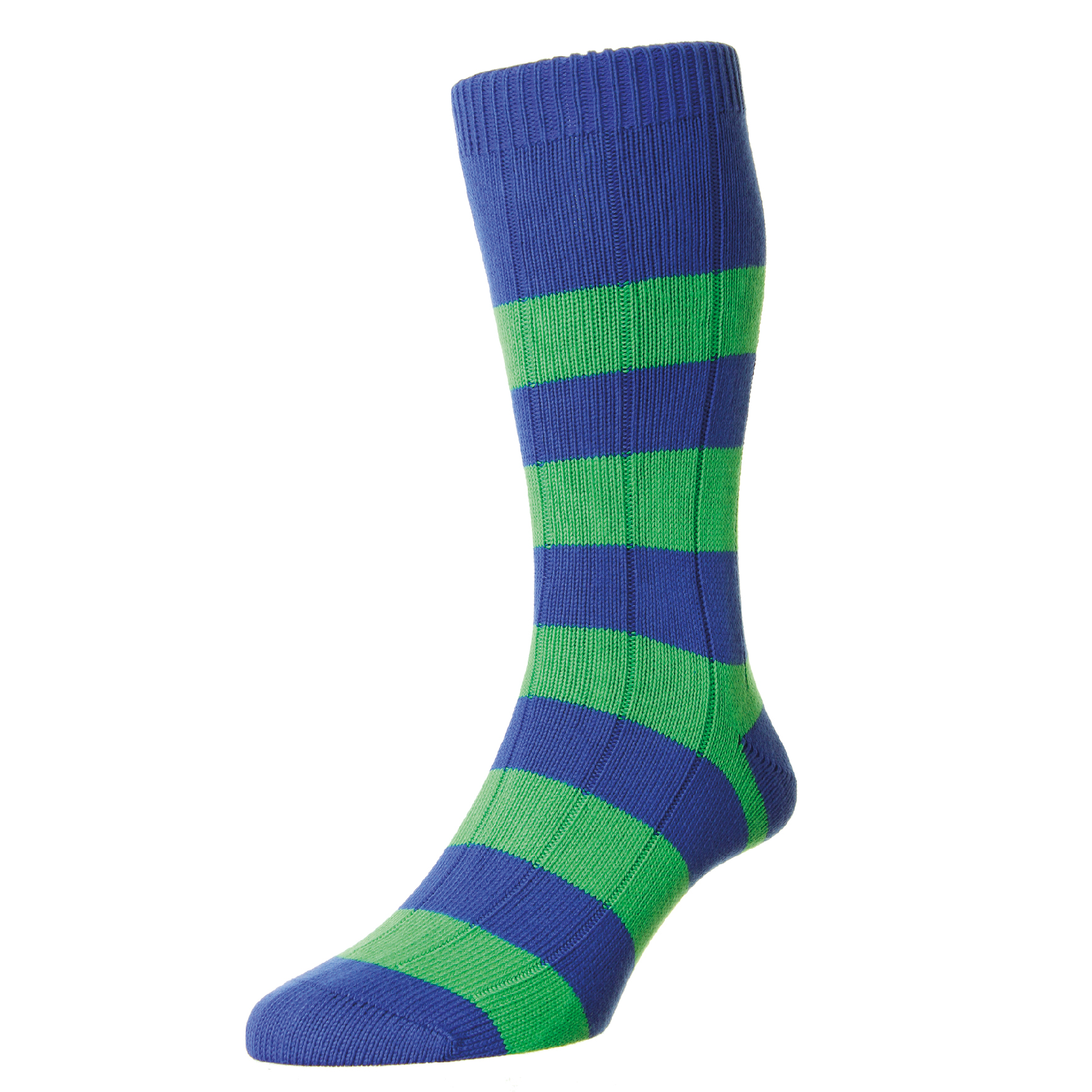 LAUNCHING OCTOBER 2016  RUG-EMR-STR - Rugby Emerald Stripe Chunky Cotton Sock  RRP £TBC  SIZES:Medium (6 - 9 UK), Large (9.5 - 12 UK)  OUT OF STOCK