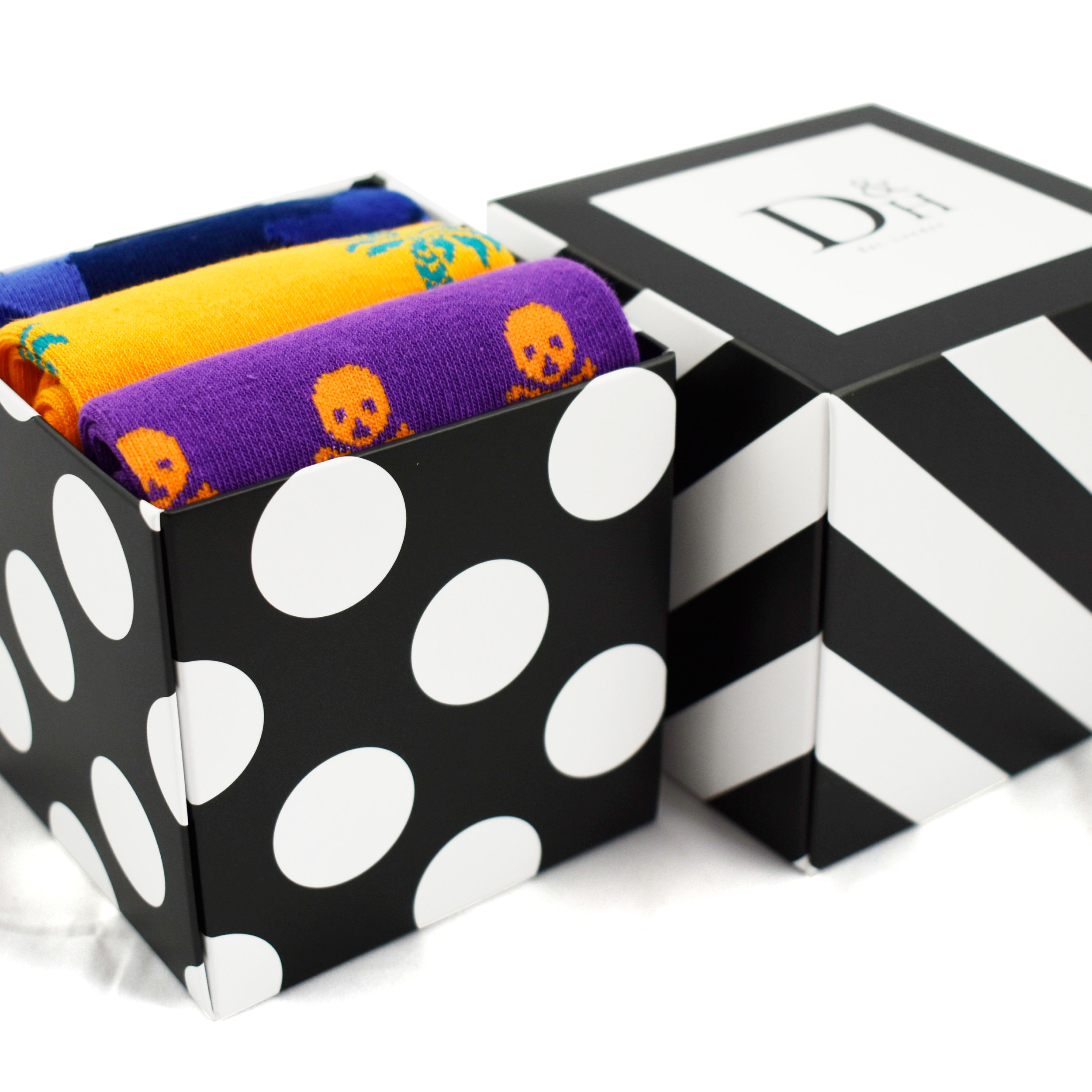 Gift boxes fit up to 3x pair of adult socks per box.